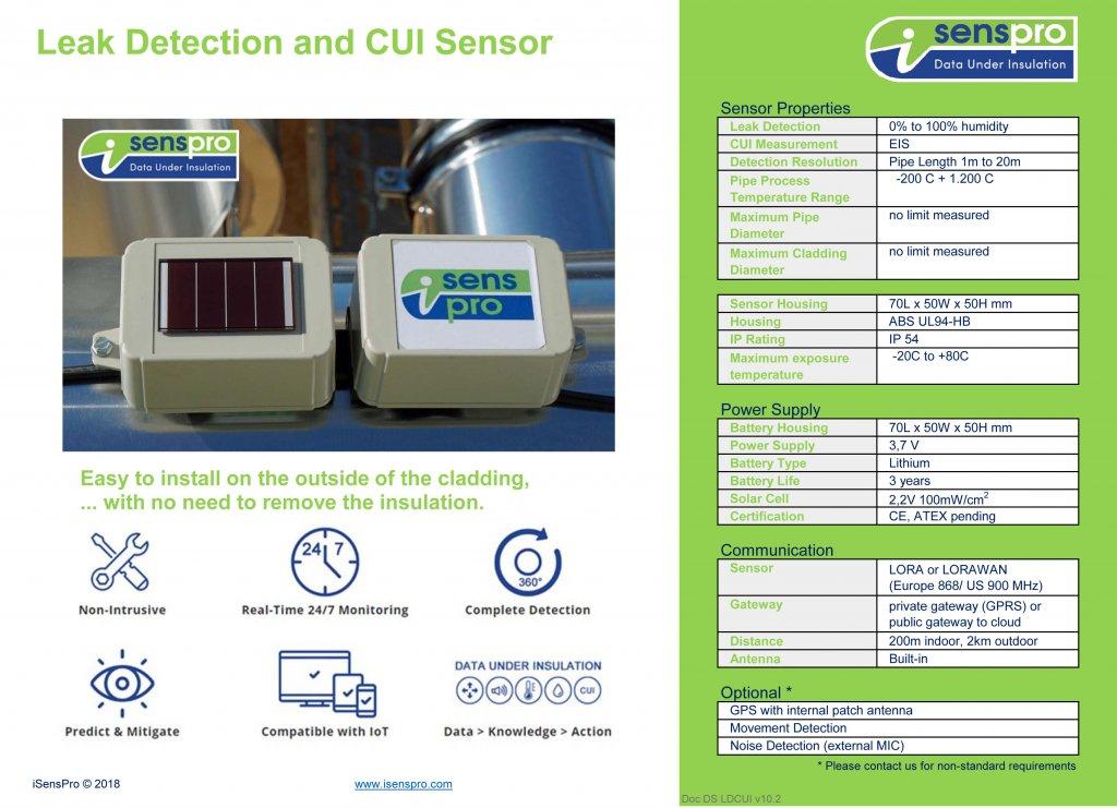sensor datasheet leak detection and corrosion under insulation sensor system